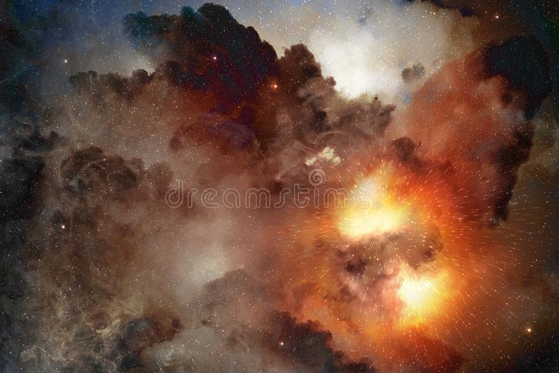 Luz de la estrella en nebulosa cósmica stock de ilustración