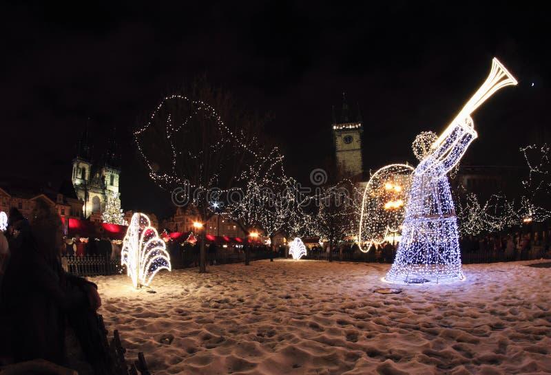 Luz de la noche en Praga imagen de archivo libre de regalías