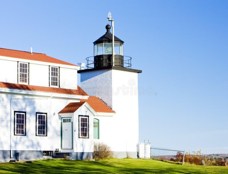 Luz de la punta del fuerte del faro, primaveras de Stockton, Maine, los E fotografía de archivo libre de regalías