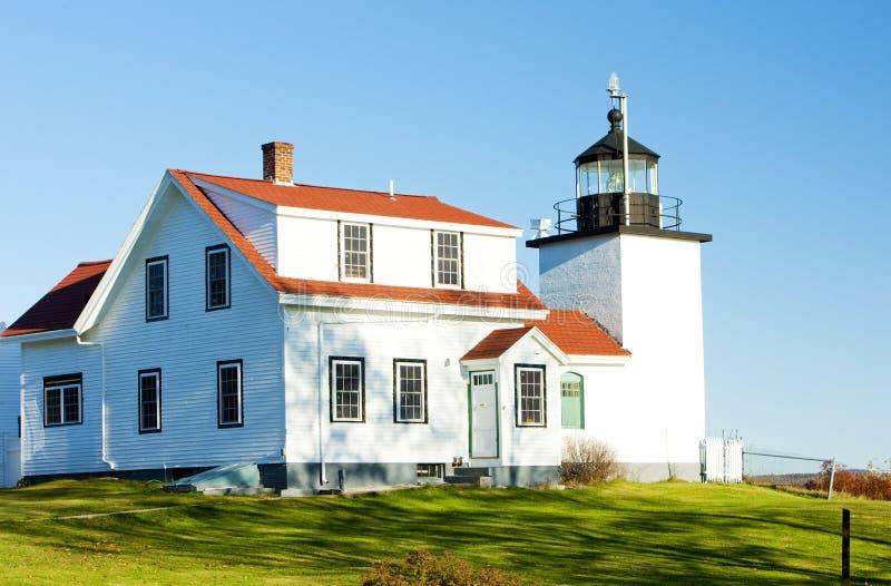 Luz de la punta del fuerte del faro, primaveras de Stockton, Maine, los E fotos de archivo libres de regalías