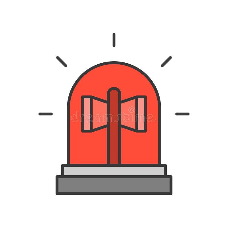 Luz de la sirena, esquema editable del icono relacionado de la policía alimentar libre illustration
