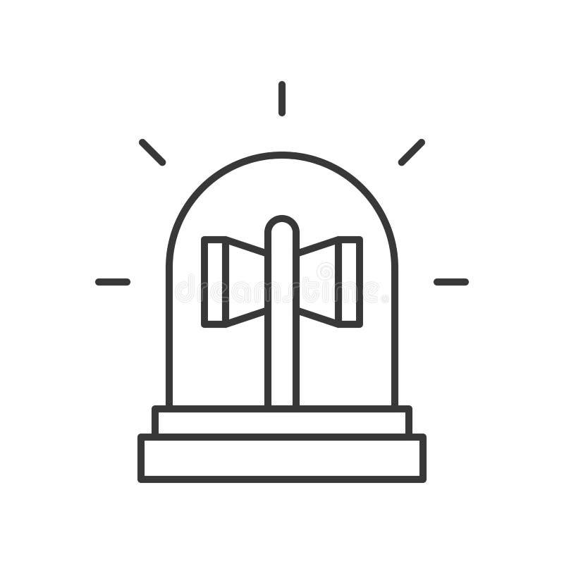 Luz de la sirena, esquema editable del icono relacionado de la policía alimentar ilustración del vector