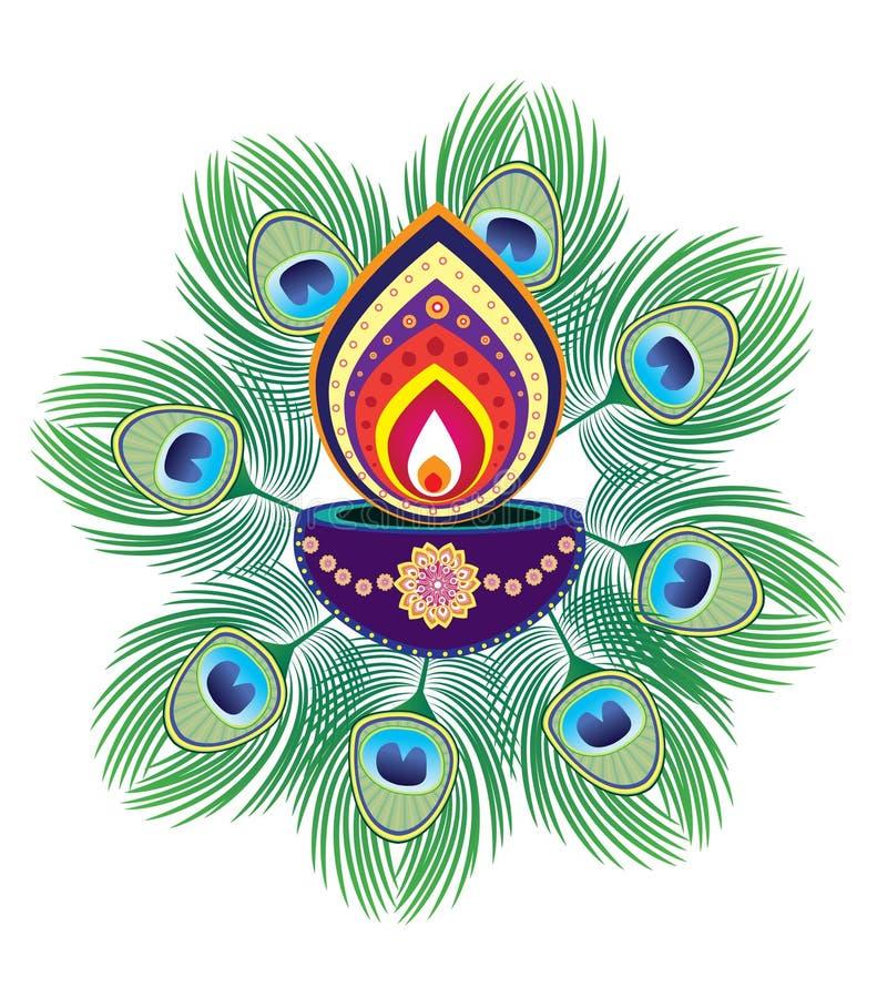 Luz de la vela de Diwali stock de ilustración