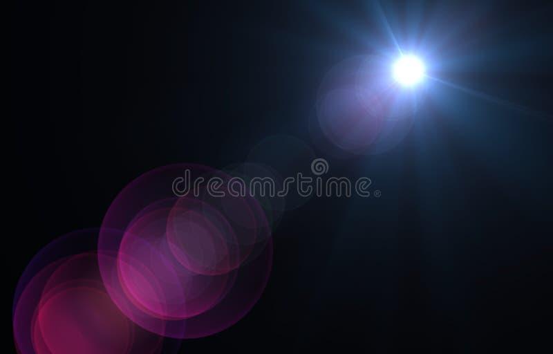 Luz de lente sobre fondo negro fotografía de archivo