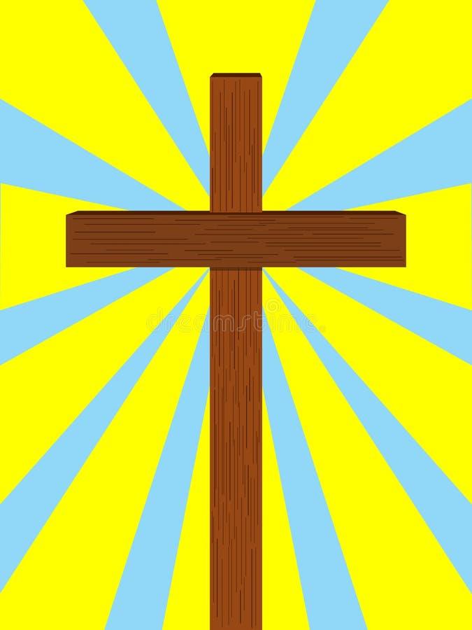 Luz de los rayos de la cruz cristiana ilustración del vector