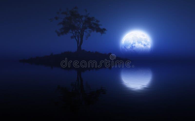 Luz de lua azul ilustração royalty free