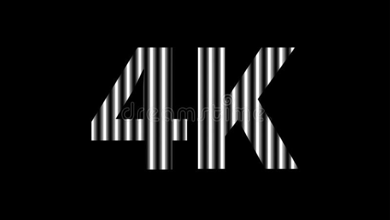 luz de néon digital do alfabeto 4k branca na definição preta, alta 4k para o fundo moderno, definição 4k da tela da tecnologia pa ilustração do vetor