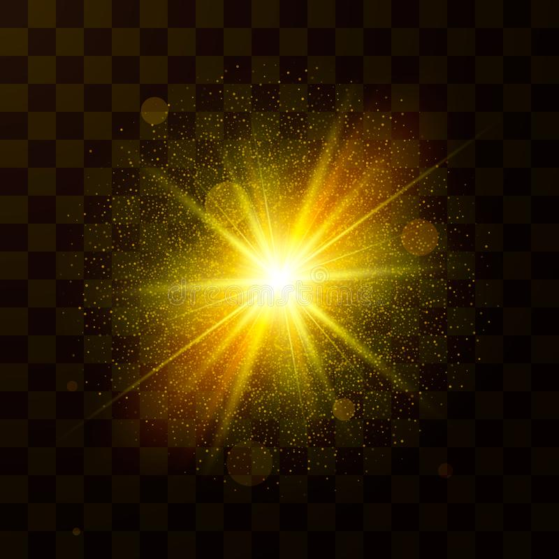 Luz de Natal festiva Explosão da estrela com poeira e sparkles Partículas dos confetes e da faísca isoladas no fundo transparente ilustração do vetor
