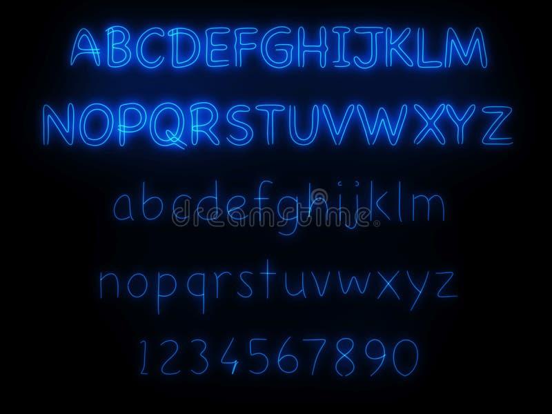 Luz de neón azul fluorescente stock de ilustración
