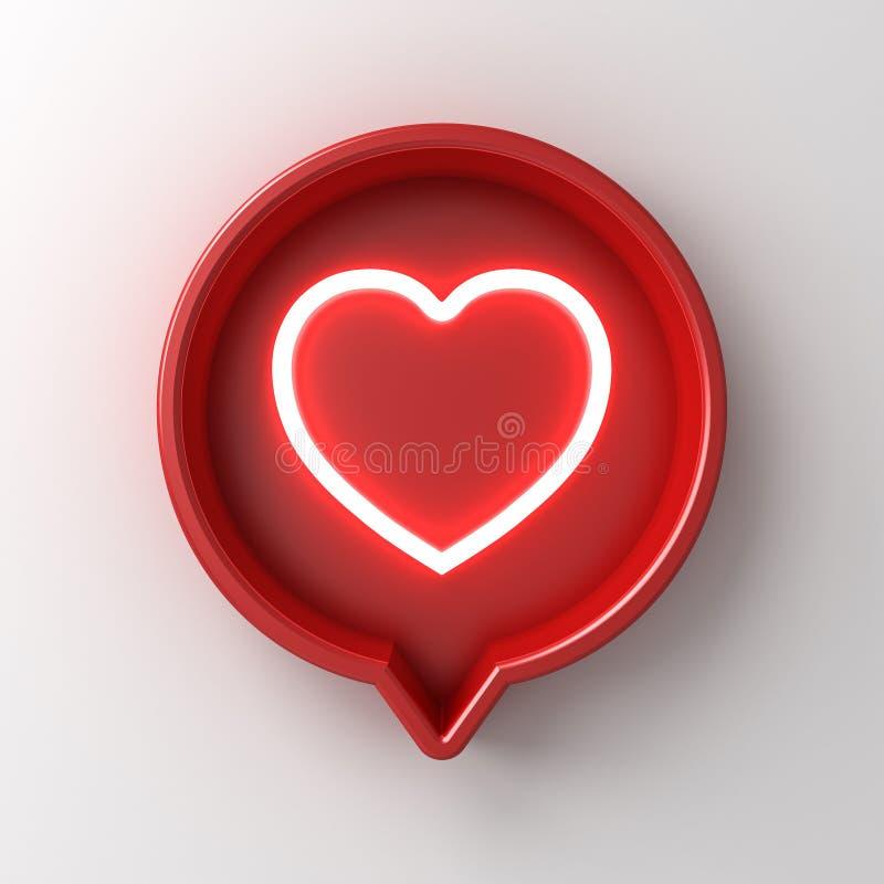 luz de neón de la notificación social de los medios 3d como icono del corazón en la caja redonda roja de la muestra del perno ais ilustración del vector