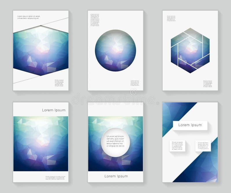 Luz de Poligonal en la oscuridad sobre el folleto decorativo del folleto del libro del ornamento del marco del modelo del diseño  ilustración del vector