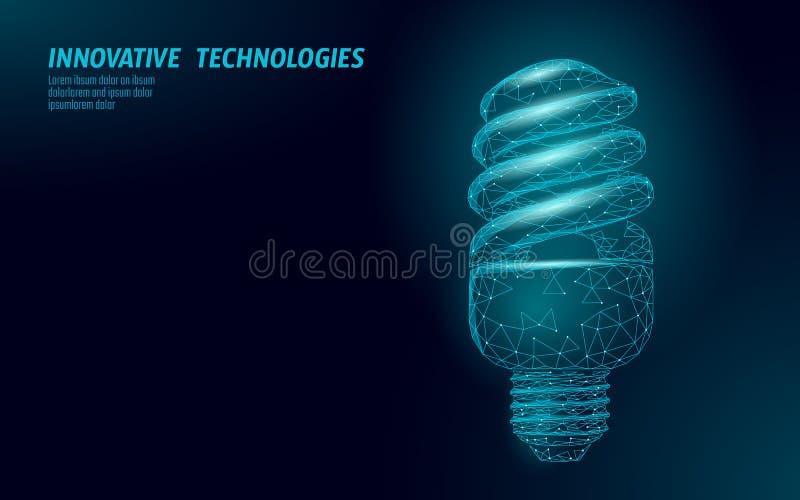 Luz de poupança de energia compacta da lâmpada fluorescente Baixo conceito poli poligonal da energia do verde do ambiente da ecol ilustração royalty free