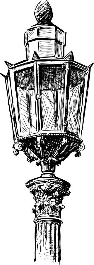 Luz de rua velha ilustração stock