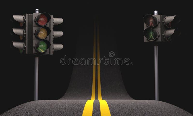 Luz de tráfego rodoviário ilustração royalty free