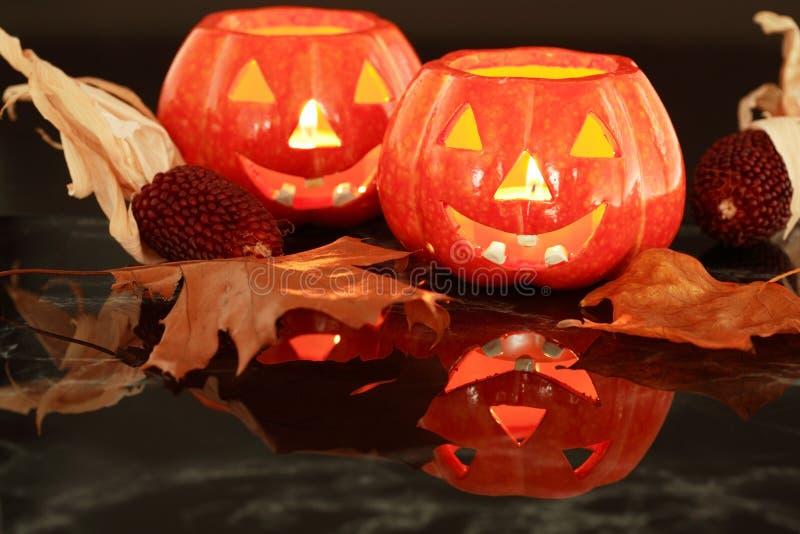 Luz de vela de Halloween fotografia de stock