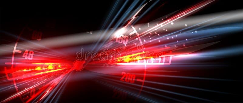 Luz del coche de competición en el movimiento con el fondo a cuadros ilustración del vector