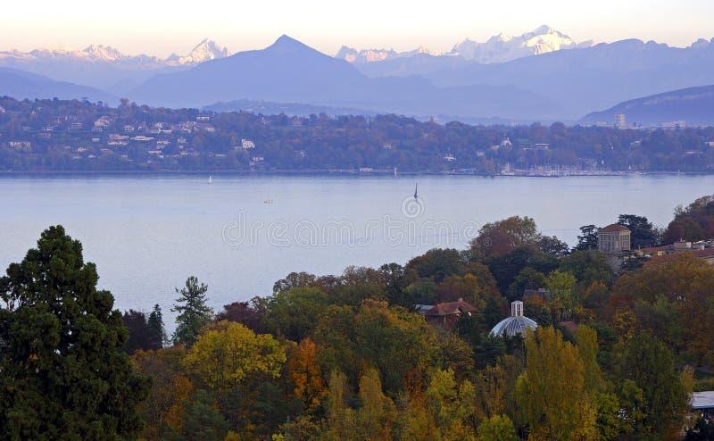 Luz del otoño por el lago fotografía de archivo