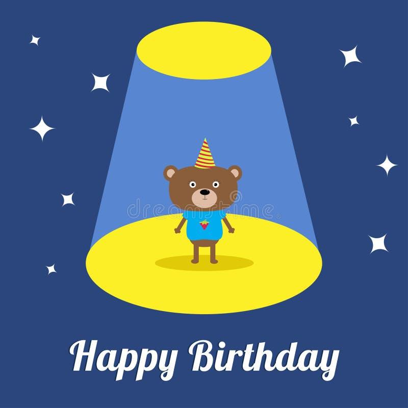Luz del proyector en el oso lindo de la historieta de la demostración del circo con el sombrero Tarjeta de cumpleaños Diseño plan libre illustration