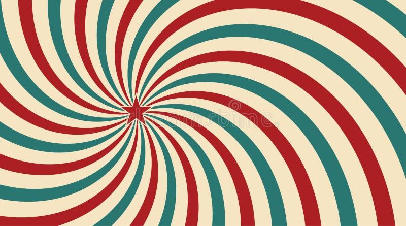 Luz del sol abstracta del vintage del fondo azul y verde amarillo rojo de las flores con una estrella en el centro Estilo del cir libre illustration