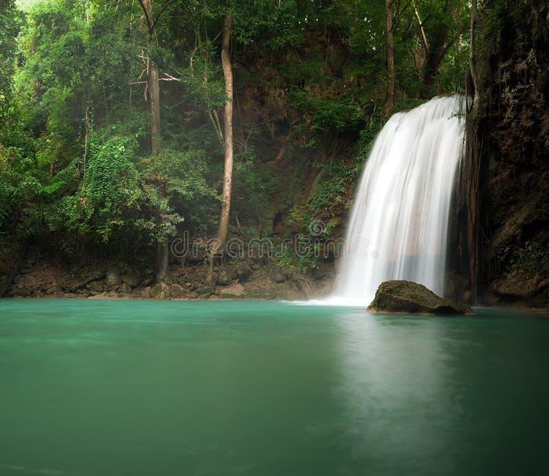 Luz del sol en selva tropical de la selva con la cascada escénica fotos de archivo libres de regalías