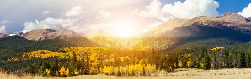 Luz del sol que brilla sobre picos de alta montaña y árboles de oro del álamo temblón en un paisaje panorámico de Colorado imagen de archivo libre de regalías
