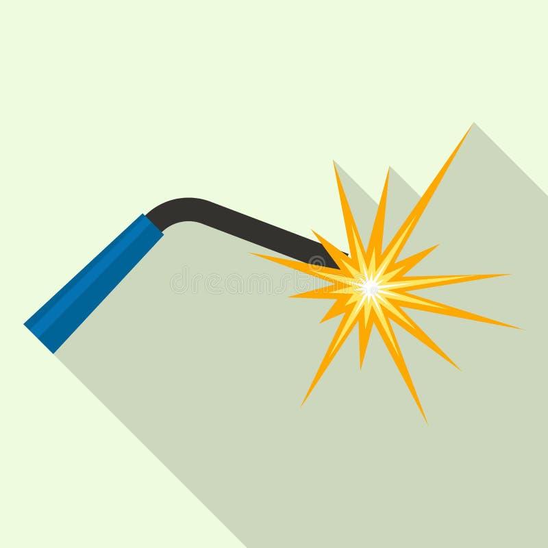 Luz del soldador para el icono del trabajo, estilo plano ilustración del vector