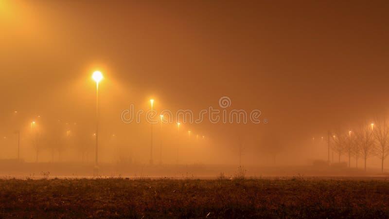 Luz difundida suave de soportes ligeros en un estacionamiento por la tarde de niebla imágenes de archivo libres de regalías