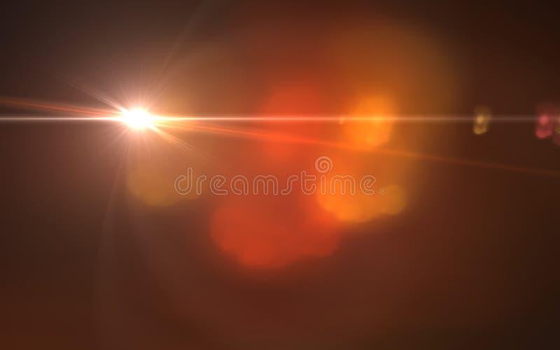 Luz do alargamento da lente sobre o fundo preto ilustração stock