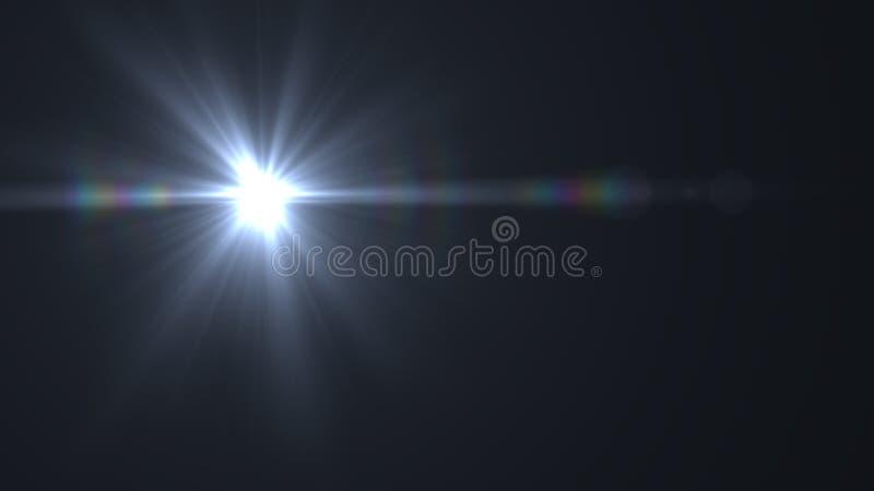 Luz do alargamento da lente sobre o fundo preto Fácil adicionar a folha de prova ilustração royalty free
