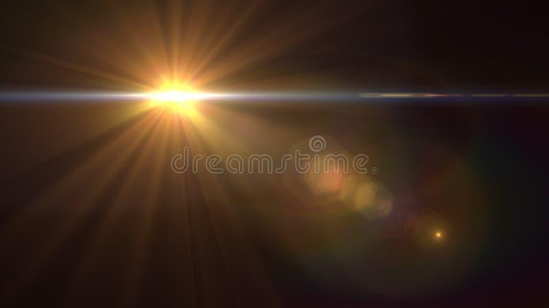 Luz do alargamento da lente sobre o fundo preto Fácil adicionar a folha de prova ou o s ilustração royalty free
