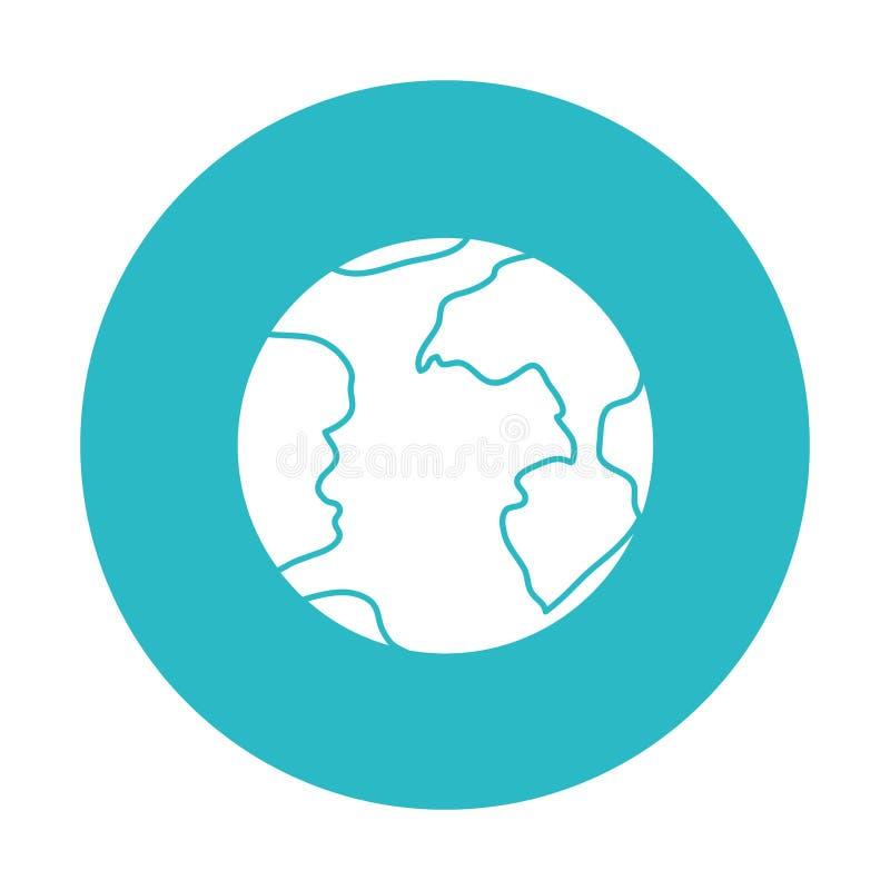 Luz do círculo - azul com ícone do globo da terra ilustração stock
