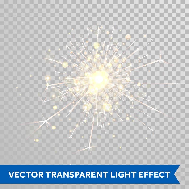 Luz do chuveirinho Efeito mágico do brilho do fogo de artifício ilustração do vetor