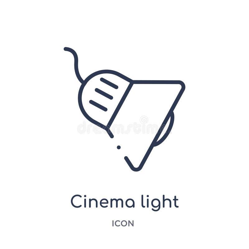 luz do cinema com ícone do cabo da coleção do esboço da tecnologia Linha fina luz do cinema com o ícone do cabo isolado no branco ilustração do vetor