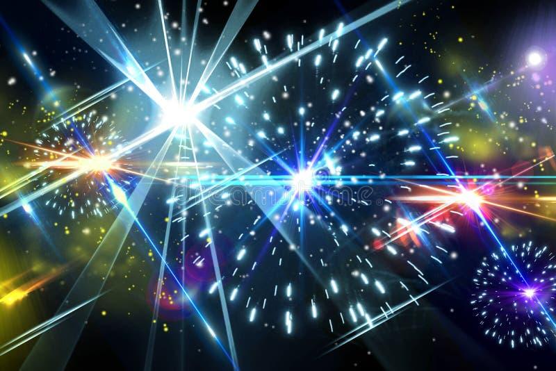 Luz do flash do partido do efeito da luz do raio laser do feriado dos fogos-de-artifício ilustração royalty free