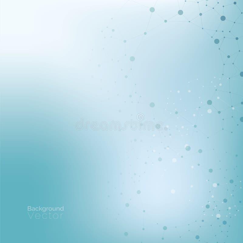 Luz do inclinação - fundo azul de turquesa com teste padrão molecular ilustração stock