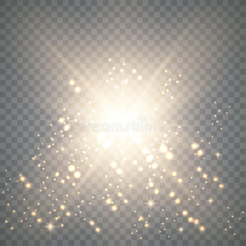 Luz do ouro com fa?sca ilustração stock
