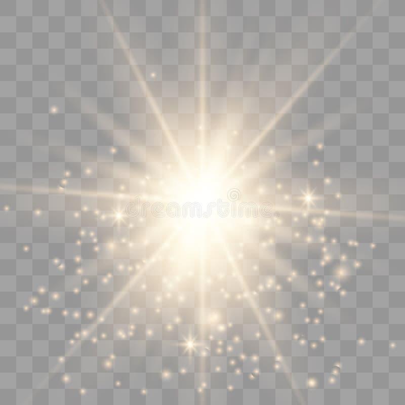 Luz do ouro com fa?sca ilustração do vetor