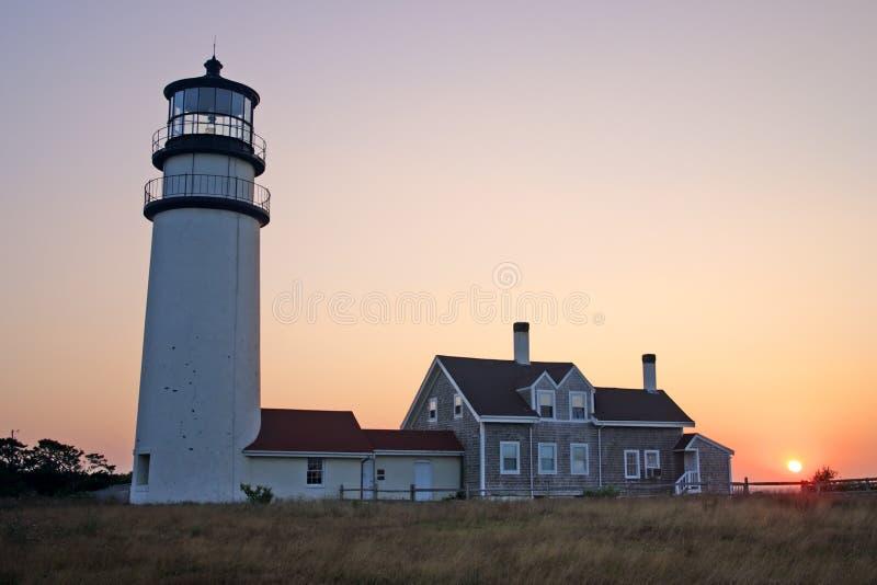 A luz do ponto da raça é um farol histórico no bacalhau de cabo, Massachusetts fotos de stock royalty free