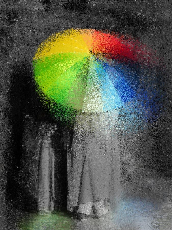 Luz do sol através da chuva ilustração do vetor
