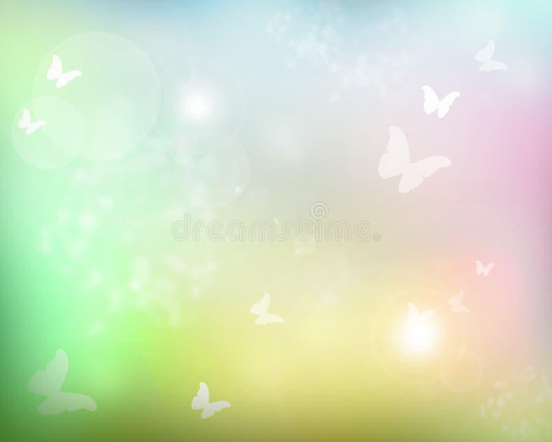 Luz do sol com borboletas ilustração royalty free