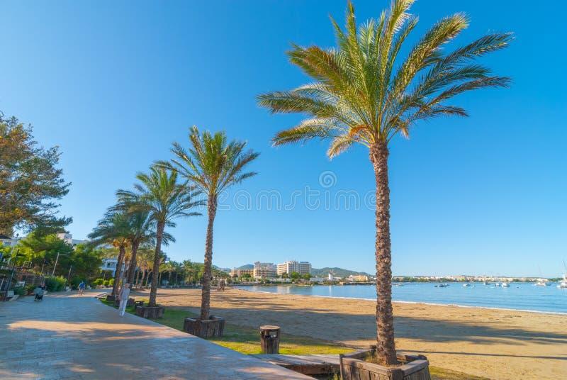 Luz do sol da manhã de Ibiza na baía em St Antoni de Portmany, Balearic Island, Espanha fotos de stock