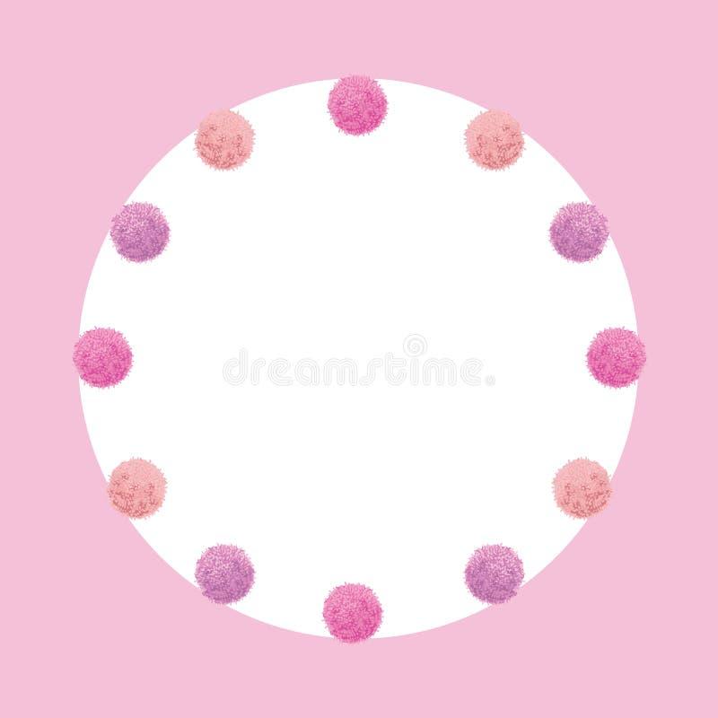 Luz do vetor - festa de anos cor-de-rosa Pom Poms Circle Set do bebê e quadro redondo Grande para cartões feitos a mão, convites ilustração royalty free