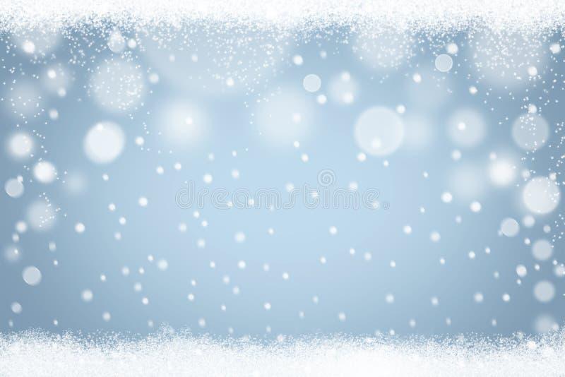 Luz dos flocos de neve do inverno - fundo azul do bokeh Contexto abstrato da neve do feriado do Natal ilustração stock