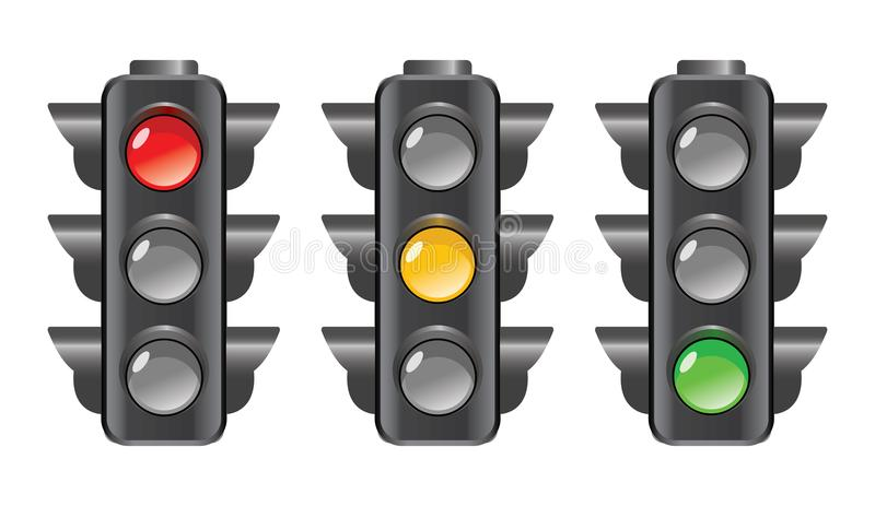 Luz dos sinais vermelhos, a amarela e a verde ilustração stock