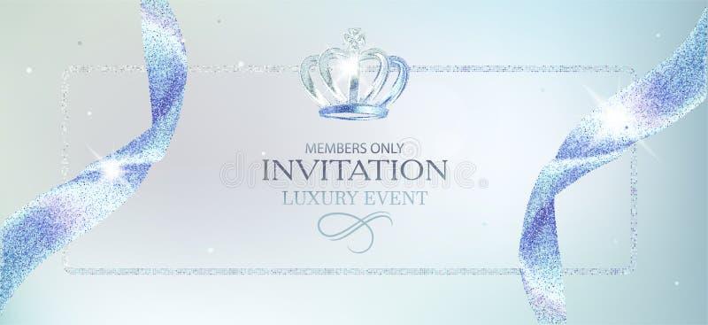 Luz elegante do convite - cartão azul ilustração royalty free