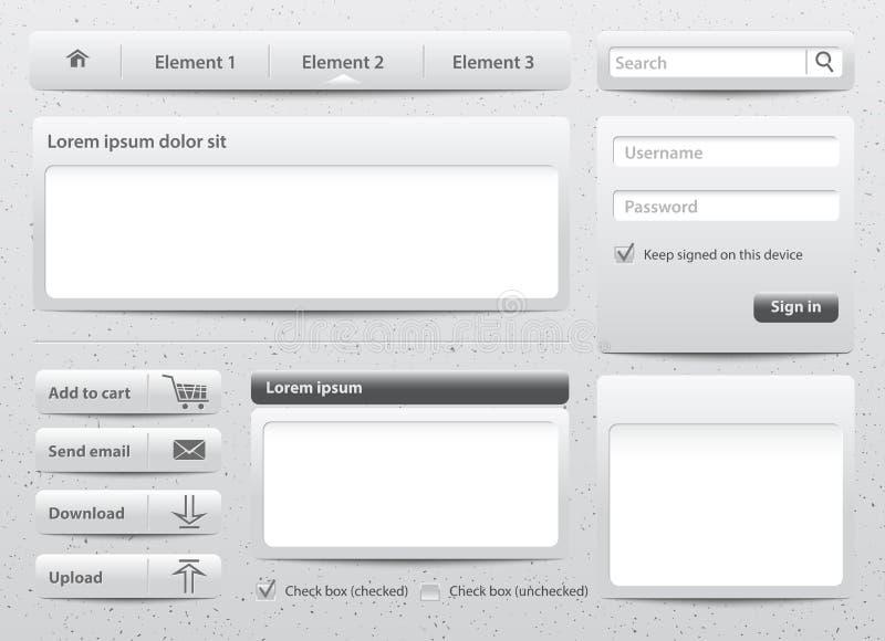 Luz - elementos cinzentos do Web da pele ilustração stock
