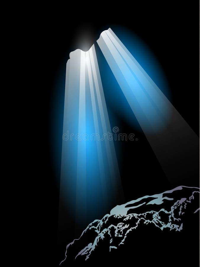 Luz en cueva ilustración del vector