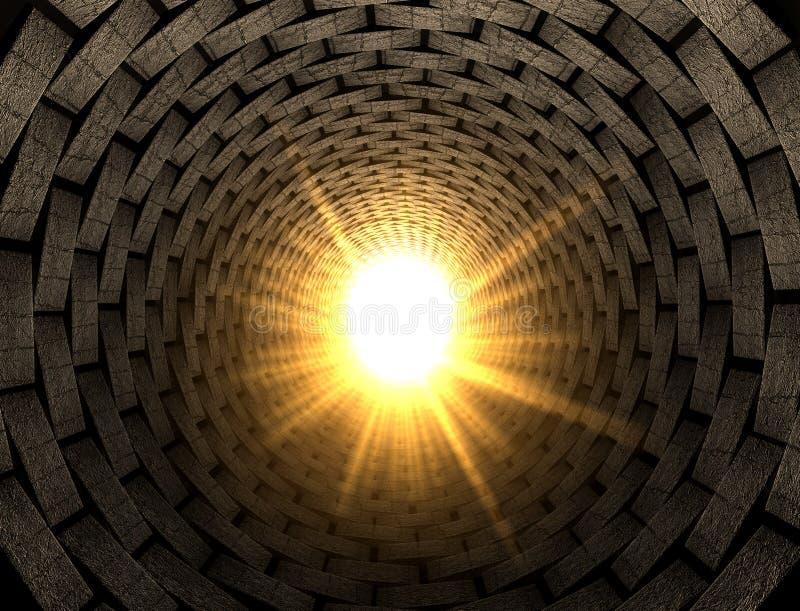 Luz en el extremo de un túnel del ladrillo stock de ilustración