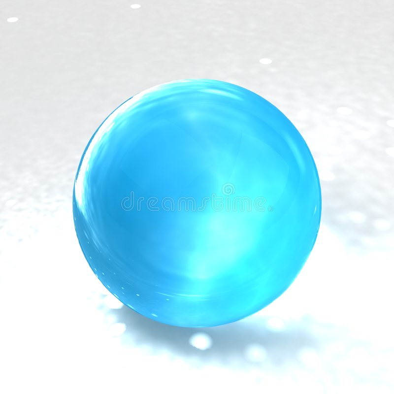 Luz - esfera de vidro azul ilustração do vetor