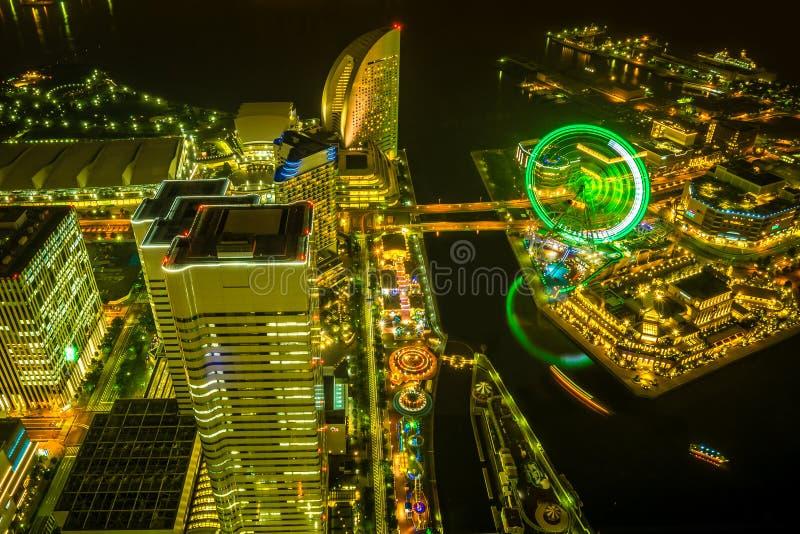 Luz esplêndida de Minatomirae fotografia de stock